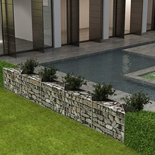 mewmewcat Panier de Gabion pour Jardin Terrasse en Acier Galvanisé Style Naturel Argenté 330x30x50 cm