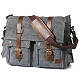 Lifewit 17.3' Men's Messenger Bag Vintage Canvas Leather Military Shoulder Laptop Bags, Grey