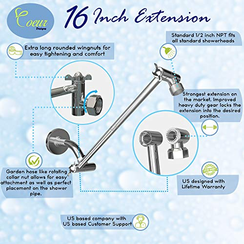 Coeur Designs 16-Inch Extra Long Shower Extension Arm. Solid Brass. Height/Angle Adjustable With a Unique Locking Gear for a Perfect Position Every time. Holds All Showerhead Sizes!!