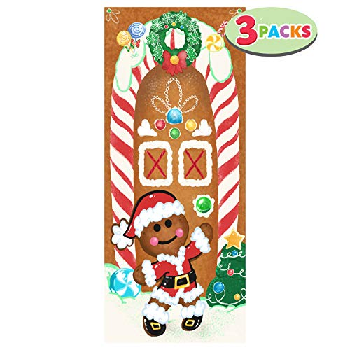 JOYIN 3 Packs Christmas Ginger Bread House Window Door Cover Holiday House Decoration 72X30 Inches