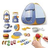 Edinber Juego de 23 piezas de juguetes de camping para niños, juguetes Pop Up Play Tent Camping Gear Tools Adventure Set Play Kitchen Food Toys Gifts for Kids