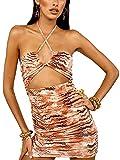 ZZLBUF Vestido de mujer con correa de espagueti cruzada, sin mangas, bodycon recortado, vestido de fiesta de club, playa Y2k