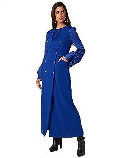 Splash Plain Side Pockets Front Buttons Long Sleeves V Neck Maxi Dress for Women 3XL