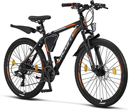 Licorne Bike Effect Premium Mountainbike, Aluminium, Fahrrad für Jungen, Mädchen, Herren und Damen - 21 Gang-Schaltung - Scheibenbremse- Herrenrad - Schwarz/Orange 2xDisc-Bremse