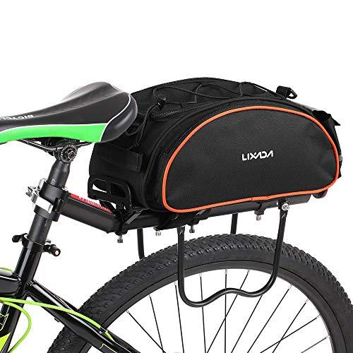 Lixada Fahrradtaschen Gepäckträger Wasserdicht Sitz Multifunktionale Tasche MTB Rennrad Rack Carrier 13L/25L (13L schwarz-orange)
