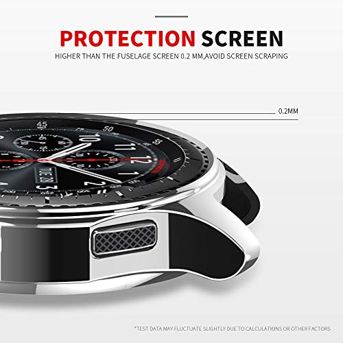 JZK Case for Samsung Galaxy Watch 46mm Gear S3 Screen Protector,Shatter-Resistant Protective Shell TPU Cover Case for Samsung Gear S3 Frontier/Classical and Galaxy Watch 46mm Accessories,Silver 2