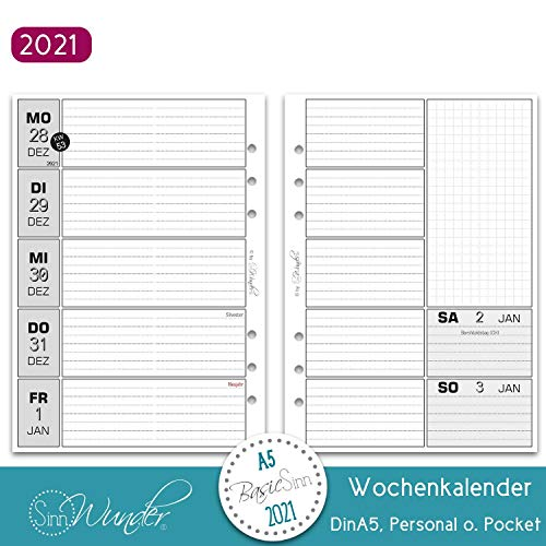 SinnWunder® Premium-Kalendereinlagen - Wochenplan mit 1 Woche auf 2 Seiten - BasicSinn (2021 - Din A5)