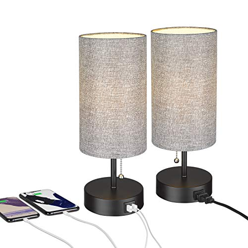 Bedside Table Lamp, ELYONA Nightstand Lamps with 2 USB Charging Ports & Power Outlet, Modern Gray Desk Lamp Ideal for Bedroom Living Room, Office, Kids Room - Set of 2