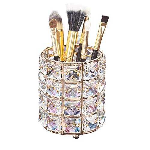 AiLa Makeup Brush Holder Organizer Crystal Vanity Decor Bling Personalized Comb Brushes Pen Storage Box Container (Crystal Pot)