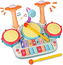 Rabing Baby Musical Instruments Toys, 5 in 1 Toddler Drum & Piano Set, Kids Electronic Piano Keyboard Xylophone Drum Toys Set with Microphone & Lights, Learning Toys Gift for Baby Infant 3 Years Old