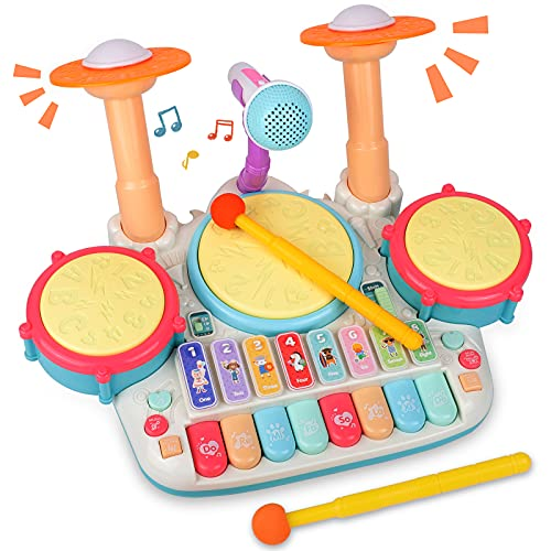 Rabing Baby 5 in 1 Musical Instruments Toys, Toddler Drum & Piano Keyboard...