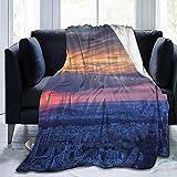 Manta Mantas de franela,Vista aérea de la puesta de sol sobre la atracción turística de París cielo,Manta de Lana Manta de sofá Manta de Aire Acondicionado de día luz para sofá Cama 60' x 50'