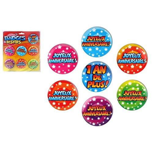 Lot de 7 Badges Festifs Anniversaire