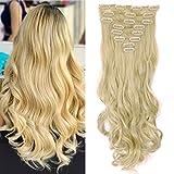 S-noilite® 17' (43 cm) extensiones de cabello cabeza completa clip en extensiones de pelo Ombre ondulado rizado - Blanqueador rubio