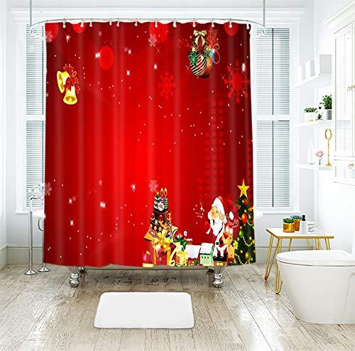 KnSam Duschvorhang, Weihnachtsmann Anti-Schimmel Wasserdicht Vorhänge Polyester An Badewanne Bad Vorhang Für Badezimmer Inkl. 12 Duschvorhangringen Rot 200X180Cm
