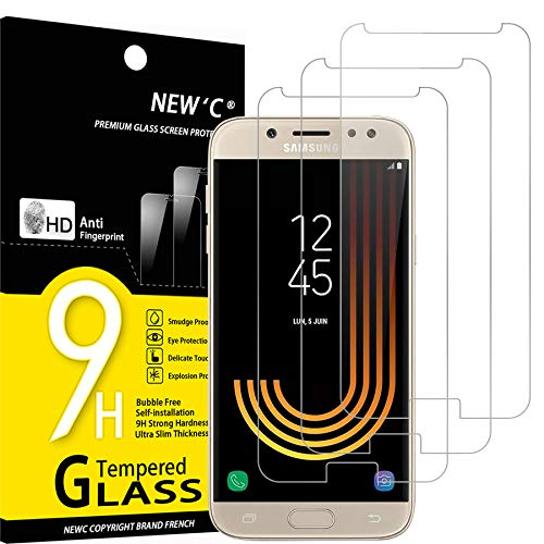 NEW'C 3 Pezzi, Vetro Temperato Compatibile con Samsung Galaxy J5 2017, Pellicola Prottetiva Anti Graffio, Anti-Impronte, Durezza 9H, 0,33mm Ultra Trasparente, Ultra Resistente