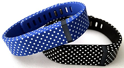 Large 1 Blue with White Dots 1 Black With White Dots Spots Band Compatible with Fitbit FLEX Only With Clasps Replacement /No tracker/