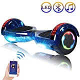 Hoverboard Self Balancing Scooter 6.5' Two-Wheel Self Balancing Hoverboard with Bluetooth Speaker and LED Lights Electric Scooter for Adult Kids Gift UL 2272 Certified Fun Edition - Starry Sky