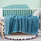 Exclusivo Meacla Waffle Tetured Soft Fleece Baby Blanket,Swaddle Blanket(Slate Blue,30X40 inches)-Cozy Warm and Lightweight