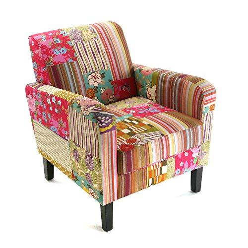 Versa Pink Patchwork Butaca para Salón, Dormitorio o Comedor, Sillón confortable y diferente, con Apoyabrazos, Medidas (Al x L x An) 71 x 77 x 65 cm, Algodón y Madera, Color Rosa