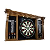 BARRINGTON BILLIARDS Premium Bristle Dartboard, Cabinet, Accessories, Dark Wood with LED Lights - Competition Dartboards with Steel Tip Darts, 2 Scoreboards - Protective Display Cabinet for Bar & Home Decor