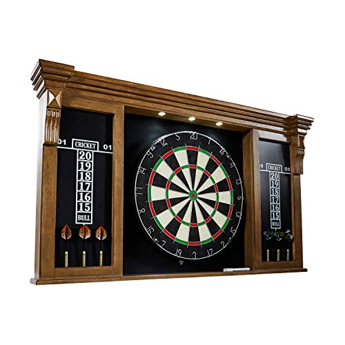 Barrington Premium Bristle Dartboard, Cabinet, Accessories, Dark Wood with LED Lights - Competition Dartboards with Steel Tip Darts, 2 Scoreboards - Protective Display Cabinet for Bar and Home Decor