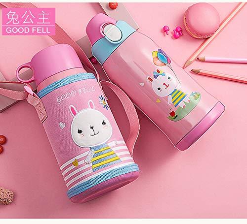 SXHSJJ Tasse pour Enfants avec Paille à Double Usage bébé Tasse étudiant Maternelle Maternelle Bouilloire Portable (Lapin Princesse)