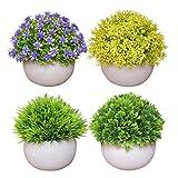 Pack de 4 plantas artificiales en macetas para decoración del hogar, decoración de interiores, decoración de otoño, arbustos falsos de imitación para plantas de escritorio y estante en baño,...