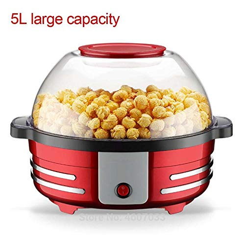 Lowest Prices! WYYH Popcorn Maker Electric, Automatic Spherical 850w Motor Pop Corn Maker Machine Plate with Transparent Cover Hot Air Popcorn Maker for Healthy Fat-Free Popcorn(red)
