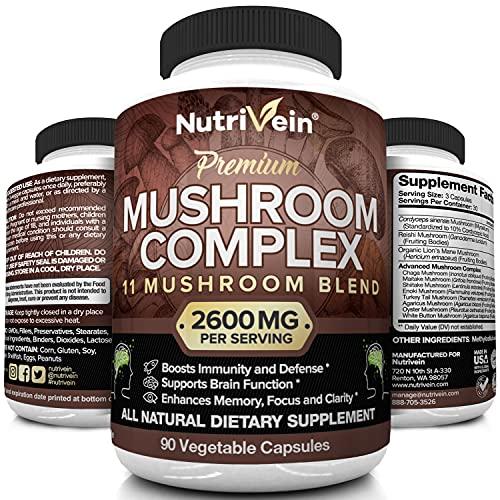 Nutrivein Mushroom Supplement 2600mg - 90 Capsules - 11 Organic...