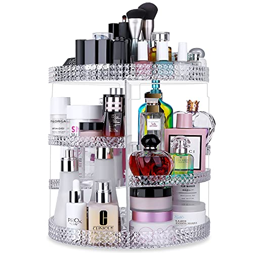 Awenia Makeup Organizer 360-Degree Rotating, Adjustable Makeup Storage, 7 Layers Large Capacity Cosmetic Storage Unit, Fits Different Types of Cosmetics and Accessories, Plus Size (Transparent )