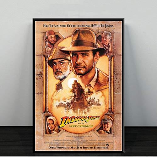 MXIBUN Cartel e Impresiones HD Indiana Jones Classic Movie Series Cuadros de Arte de Pared Lienzo Pintura Regalo Decoración para el hogar sin Marco 50 * 70cm
