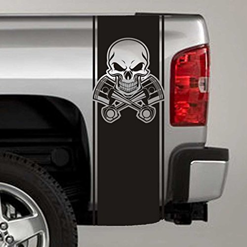 Jeepazoid SkunkMonkey - Truck Bed Stripe Decal - Skull & Pistons Universal Fit - Matte Black Sticker - (Pair - Left and Right)