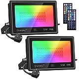 Onforu 2 Pack 50W Foco RGB Led, IP66 Impermeable Foco Proyector LED con 44 Teclas Control Remoto, 20 Colores y 6 Modos Foco LED Exterior con Temporizador, Función de Memoria para Fiesta Jardín Patio