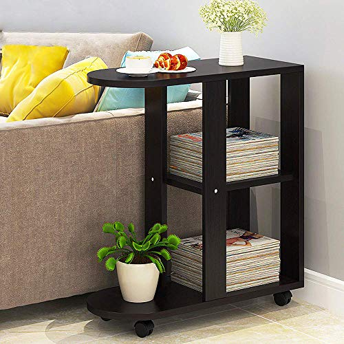 QIHANG-UK Mobile Sofa Side Table for Small Spaces, Wood Rolling Blackish-Brown Walnut End Table with Wheels, Open Shelves for Bedroom, Living Room, Office