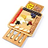 Bamboo Cheese Board with Cheese Tools,Cheese Servers with Double Side Hidden Drawer,Charcuterie...