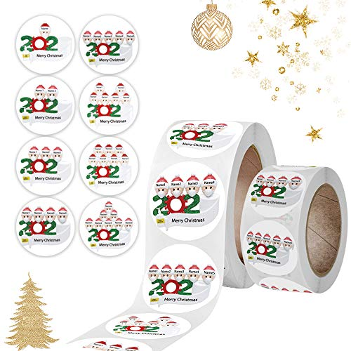 Christmas Stickers Roll 1000 Pcs 8 Designs 1.5 Inch + 1 Inch Merry Christmas Stickers Round Adhesive Labels for Cards Present Envelopes Boxes Crafts Envelopes Gifts Christmas Decoration for Kid
