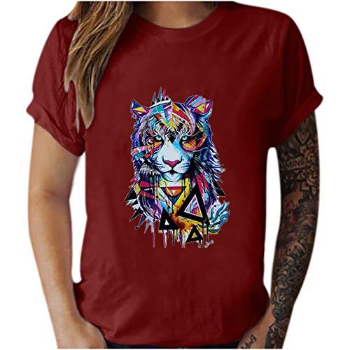 Blusa de manga corta para mujer, estilo vintage, con estampado animal, casual, manga corta, para hombre y mujer