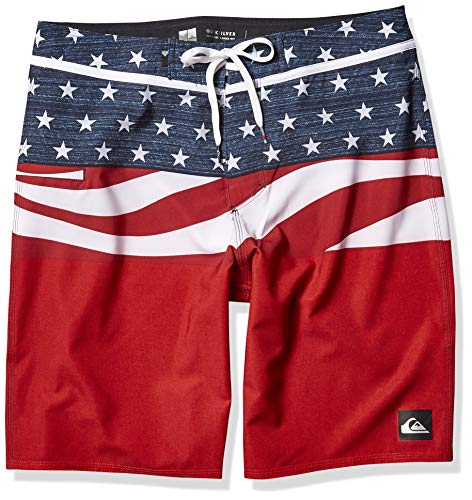 Quiksilver Men's Everyday Blocked Vee 20 Inch Boardshort Swim Trunk, Quick Red, 34