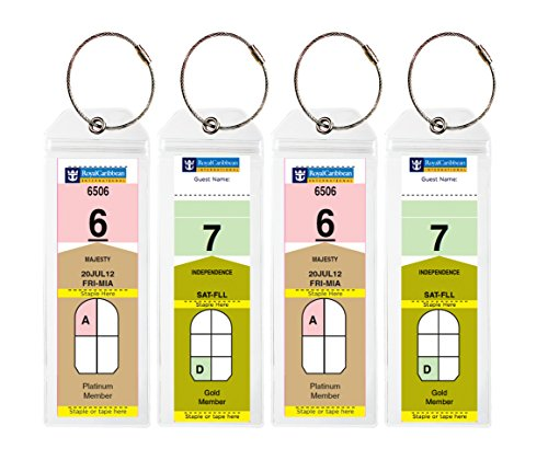 Cruise Tags - Narrow Cruise Ship Luggage Etag Holder with Zip Seal & Steel Loops for Royal Caribbean and Celebrity Cruises (4 pack)