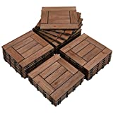 Topeakmart 27PCS Patio Deck Tiles Interlocking Wood Composite Decking Floor Tiles 12 x 12in Brown for Outdoor & Indoor Patio Garden Deck Poolside