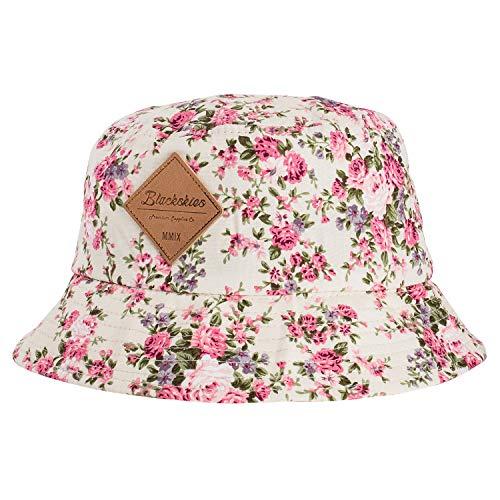 Blackskies Sakura Bucket Hat Unisex Sonnenhut Fischerhut Weiß mit Kirschblütenmuster
