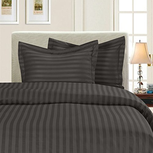 Elegant Comfort Luxury 3-Piece Striped Duvet Cover Set! - 1500 Thread Count Egyptian Quality Silky-Soft Wrinkle Resistant Damask Stripe Duvet Cover Set, King/California King, Grey