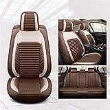 XHJZ-W Car Seat Cover Set Completo, Asiento de Coche del Amortiguador Ajustable 5 Revestimiento de Asientos Asiento de Cuero Impermeable del Coche Protector de Ajuste para la mayoría Coches,C