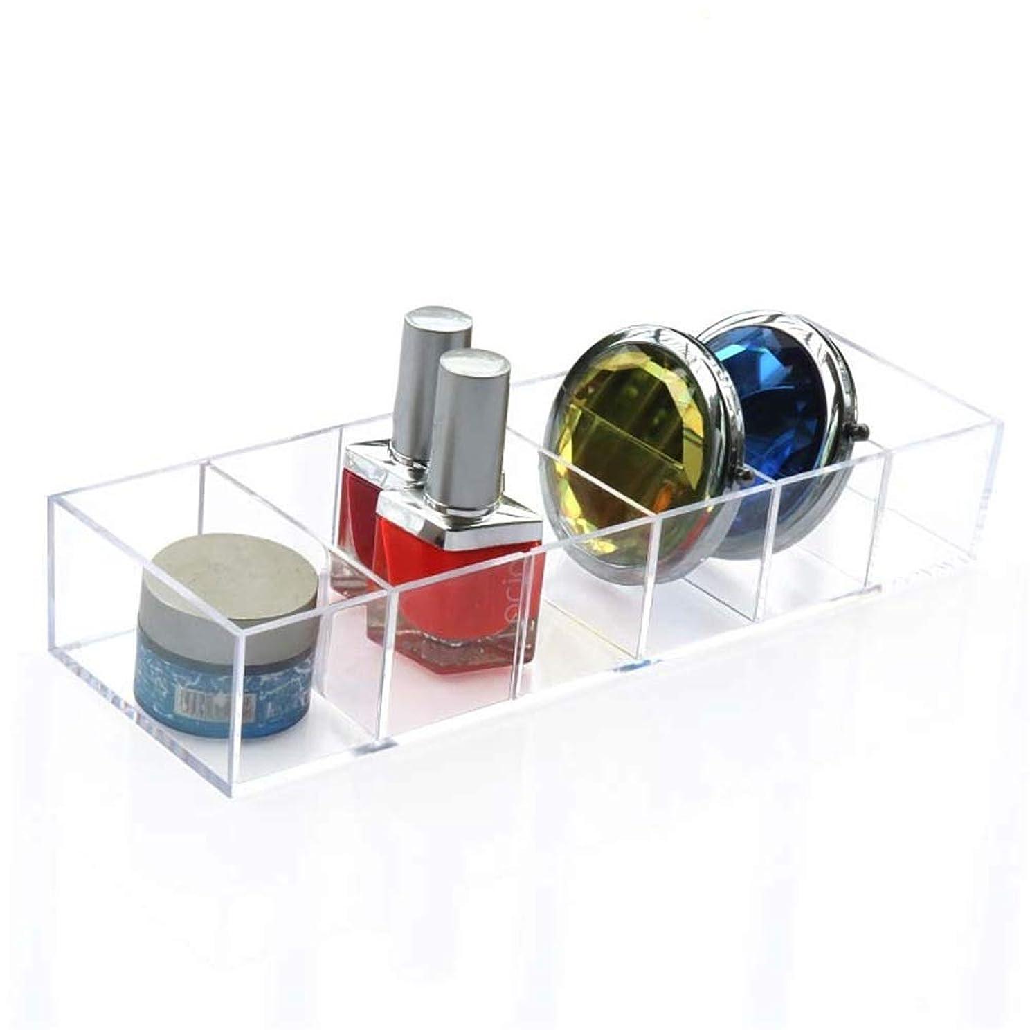 スパーク注文パーティー整理簡単 シンプル6スロットアクリルフェイスパウダー口紅ホルダー化粧ケース収納オーガナイザーボックス (Color : Clear, Size : 25.5*8.6*4.4CM)