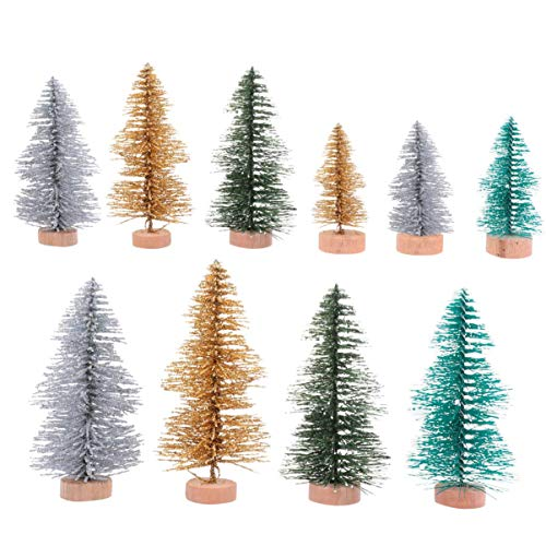 JYKFJ 10pcs Mini árbol de Navidad Artificial Mesa Árboles de sisal Árboles de Cepillo de Botella con Base de Madera para Manualidades de Bricolaje Adornos de Vacaciones de Invierno
