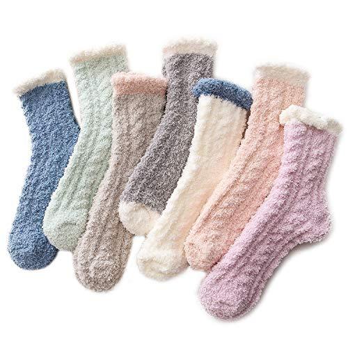 Azue Kuschelsocken Damen Wintersocken Warme Flauschige Weihnachtssocken Fuzzy Sock 7 Paare Patchwork
