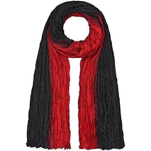 Japanwelt Seidentuch elegantes Damen Halstuch Crash-Schal 100% Seide silkroad 90 x 180 cm Verlauf Schwarz Rot