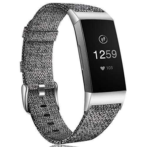 Ouwegaga Woven Armband Kompatibel mit Fitbit Charge 4 Armband/Fitbit Charge 3 Armband, Ersatzband Gewebte Stoff Zubehör Sport Armbänd Kompatibel mit Fitbit Charge 3/Charge 4, Klein Schwarz Grau