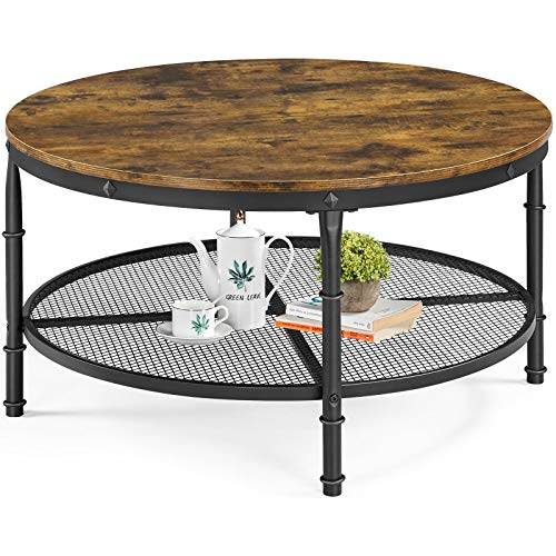 YAHEETECH 2-Tier 35.5in Rustic Round Coffee Table,Rustic Brown Industrial Furniture Table for Living Room w/Iron Mesh Storage Shelf,Wooden Tabletop,Rounded Edges,X-Shaped Reinforcing Bar,Open Shelf
